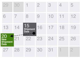 Subscription Calendar showing date change